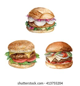 Hand painted watercolor set of hamburgers. Aquarelle fast food isolated on white.