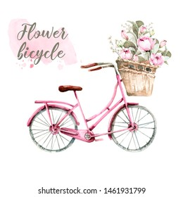 Hand painted watercolor set - pink bicycle with a basket with flowers- peonies and leaves, with watercolor stain.