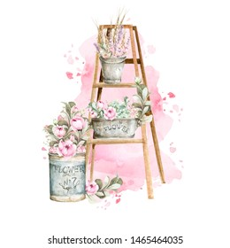 Hand painted watercolor set - wooden ladder with pink flowers-peony and leaves on the background of watercolor stain. Provence style
