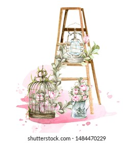 Hand painted watercolor set - wooden ladder with lantern, birdcage, pink flowers-peony, roses and leaves on the background of watercolor stain. Provence style