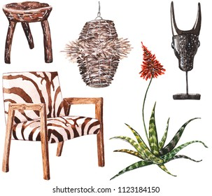 Hand painted watercolor sketch of African furniture: zebra print armchair, aloe, wooden stool, decor and wicker lamp.