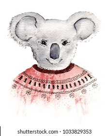 Hand painted watercolor sketch illustration koala in red sweater