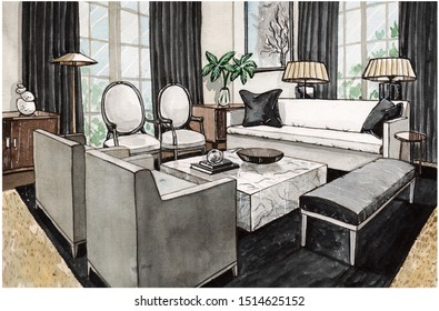 Hand painted watercolor sketch of the interior, black living room with sofa, armchairs, windows, marble coffee table and lamps.