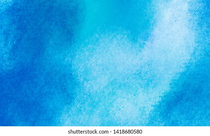 Hand painted watercolor sky and clouds, abstract watercolor canvas textured background