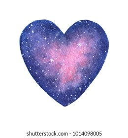 Hand painted watercolor space illustration in shape of a heart isolated on the white background. Saint Valentine's Day decoration.