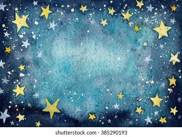 Hand painted watercolor starry sky texture background