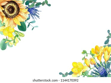 Hand painted watercolor sunflowers, freesias, thistle and eucalyptus floral composition on white background. Greeting card. Concept for postcard, card, invitation and wedding stationery design