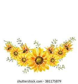 Hand painted watercolor sunflowers wreath on white background. Lovely floral decoration for your greeting, memorable, saving the date, invitation card.