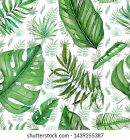 Hand painted watercolor tropical leaves seamless pattern on white background. Ilustration for wedding invitations, greeting cards, postcards, children's books, textile, wallpapers.