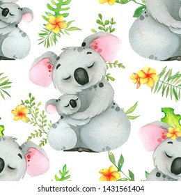 Hand painted watercolor tropical patten with koala and eucalyptus branches, on white background.