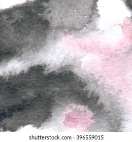 Hand painted watercolor wash texture. Black pink watercolour background with soft edges. Blurry textures brush.  Handdrawn backdrop. Pearlescent . Blurred rose