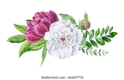 Hand painted watercolor watercolour floral bouquet arrangement with white and pink and yellow peonies and other flowers isolated