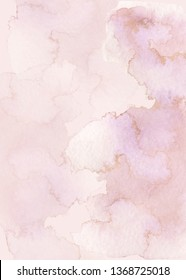 Hand painted watercolor wet wash abstract background with gold. Light rose mauve pastel colors
