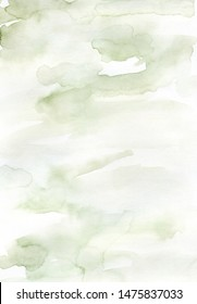 Hand painted watercolor wet wash abstract background. Light green pastel colors