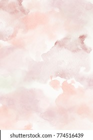 Hand painted watercolor wet wash abstract background. Light rose mauve pastel colors