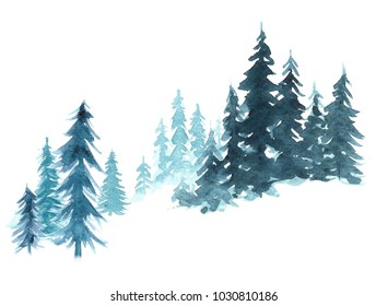 Hand painted watercolor winter landscape with Pine Trees in the Mountains. Isolated on white Background.