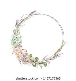 Hand painted watercolor wreath with roses, lavander and foliage. Romantic floral rustic set perfect for fabric textile, vintage paper, scrapbooking, invitation or greeting cards.