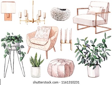 Hand painted watercolour set of beige home furniture. White and brass armchair, plants in pots, puff, chandelier, vase, wall lamp, soft mid-century armchair.