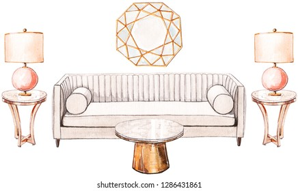 Hand painted watercolour sketch of the glamour living room. Modern sofa, brass coffee table and mirror, pink table lamps.