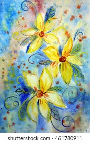 Hand painted yellow flowers in blue watercolor background