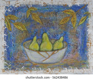 Hand painted yellow pears in kintsugi bowl