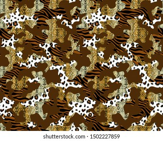 Hand Painting Abstract Watercolor Camouflage Seamless Pattern with Leopard Snake Zebra Animal Skin Texture