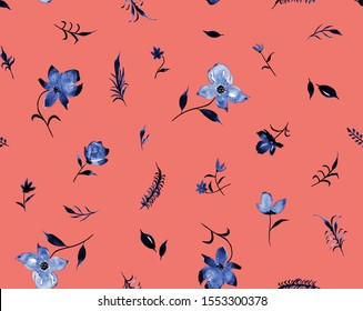 Hand Painting Abstract Watercolor Flowers Branches and Leaves Seamless Pattern Isolated Background