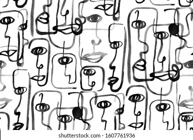Hand Painting Abstract Watercolor Geometric One Line Drawing Faces Repeating Pattern Isolated Background