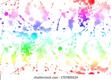 Hand Painting Abstract Watercolor Ink Stains Splashes Splatters Tie Dye Batik Repeating Pattern Isolated Background