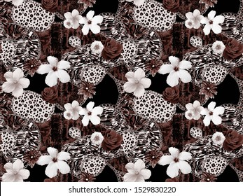 Hand Painting Abstract Watercolor Leopard Zebra and Snake Skin Patchwork Seamless Pattern with Foil Chain Shapes and Real Tropical Hibiscus Flowers Roses
