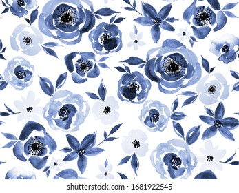 Hand Painting Abstract Watercolor Peony Poppy Roses Flowers and Leaves Repeating Pattern Isolated Background