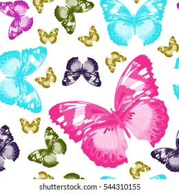 hand painting butterflies watercolor pattern isolated on white background for textile, paper, wallpaper