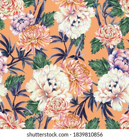 Hand painting seamless background pattern inspired by chinese Korean and Japan kimono Chrysanthemum peonies flower bamboo watercolor  illustration