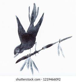 hand painting in sumi-e style on white paper - bird on bamboo twig drawn by black watercolors