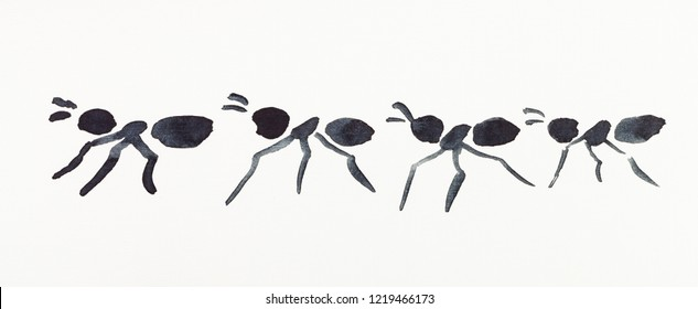 hand painting in sumi-e style on cream paper - several ants drawn by black watercolors