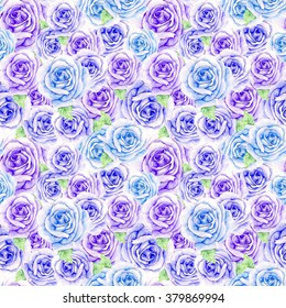 Hand painting watercolor blue and violet rose