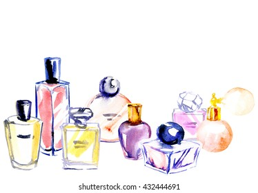 Hand painting watercolor illustration of glass perfume bottles.