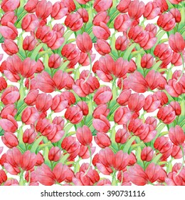 Hand painting watercolor pattern with red and pink tulips. Romantic background.