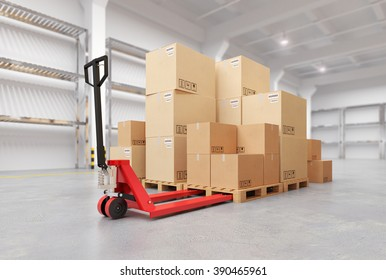 Hand Pallet Truck Inside the Warehouse. 3d illustration.