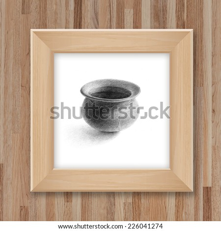 Hand Pencil Drawing Pottery Wooden Photo Stock Illustration ...