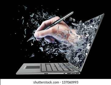 hand with the pencil exit by a monitor of laptop screen isolated on black background High resolution 3d