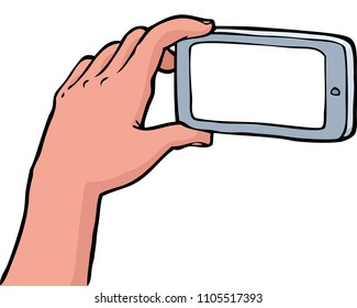Hand photographs on a smartphone on a white background  illustration