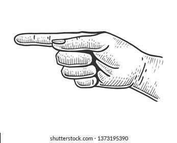 Hand pointer with forefinger index finger sketch engraving raster illustration. Scratch board style imitation. Hand drawn image.