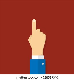 Hand with pointing finger. Illustration in flat style