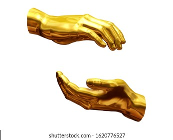 hand position in gold, preserving gesture, 3d illustration. Recipients view