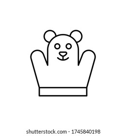 Hand puppet, baby toy icon. Simple line, outline  elements of child for website or mobile application
