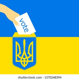 a hand puts a vote bill into a box with Ukraine emblem, in the Ukrainian flag background