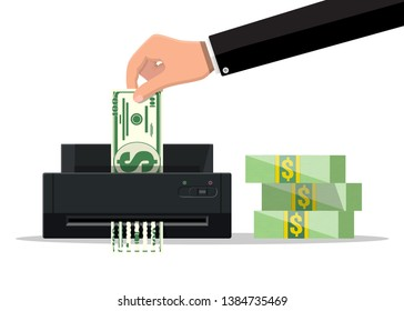 Hand putting dollar banknote in shredder machine. Destruction termination cutting money. Lose money or overspending. illustration in flat style