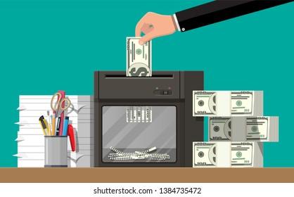 Hand putting dollar banknote in shredder machine. Destruction termination cutting money. Lose money or overspending. illustration in flat style