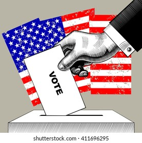 Hand putting voting paper in the ballot box on USA flag background. Concept of US Presidential election. Vintage engraving stylized drawing.